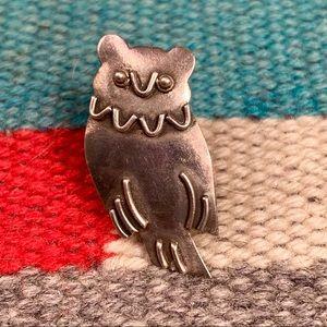 Sterling Owl Lapel Pin